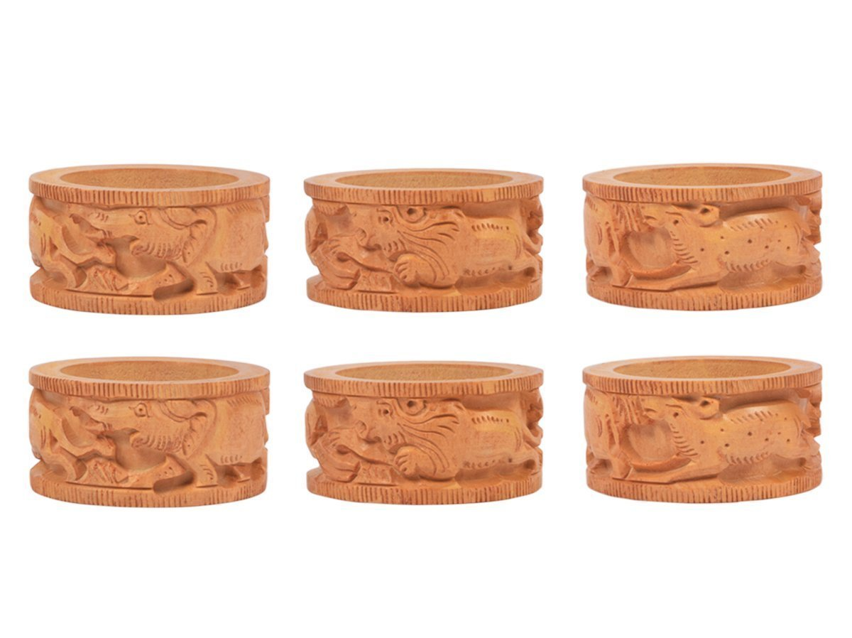 Store Indya Set of 6 Wooden Napkin Rings with Tribal Animal Designs for Dinner Parties Everyday Use