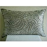 "Designer Silver Standard Pillow Shams, Silver Pearls Standard Pillow Shams, 20""x26"" Silk Standard Pillow Shams, Contemporary Standard Pillow Shams"