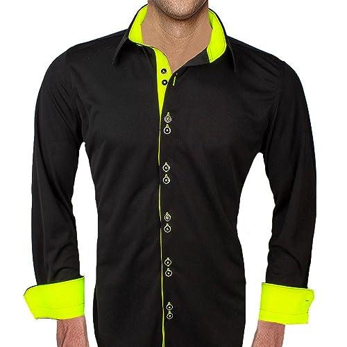 270f1c0f9d31 Amazon.com: Black with Neon Yellow Moisture Wicking Dress Shirts - Made in  the USA: Handmade