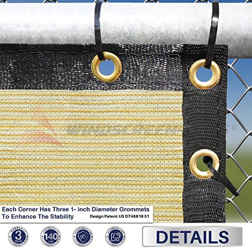 8' x 55' Privacy Fence Screen in Beige Tan with Brass Grommet 85% Blockage Windscreen Outdoor Mesh Fencing Cover Netting Fabric - Custom Size Available by Windscreen4less (Image #1)