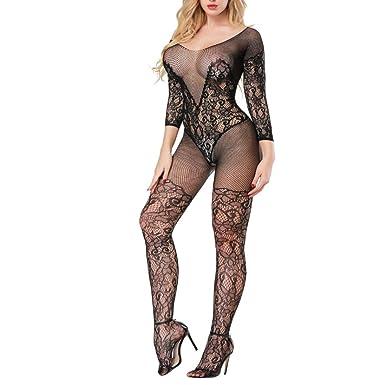 834f6d3ba5b Anglewolf Sexy Womens Fishnet Socks Lingerie Lace Underwear Babydoll  Jumpsuit Nightwear Suspenders Bodystockings Ladies Wild Temptation Sexy  Lingerie (Black ...