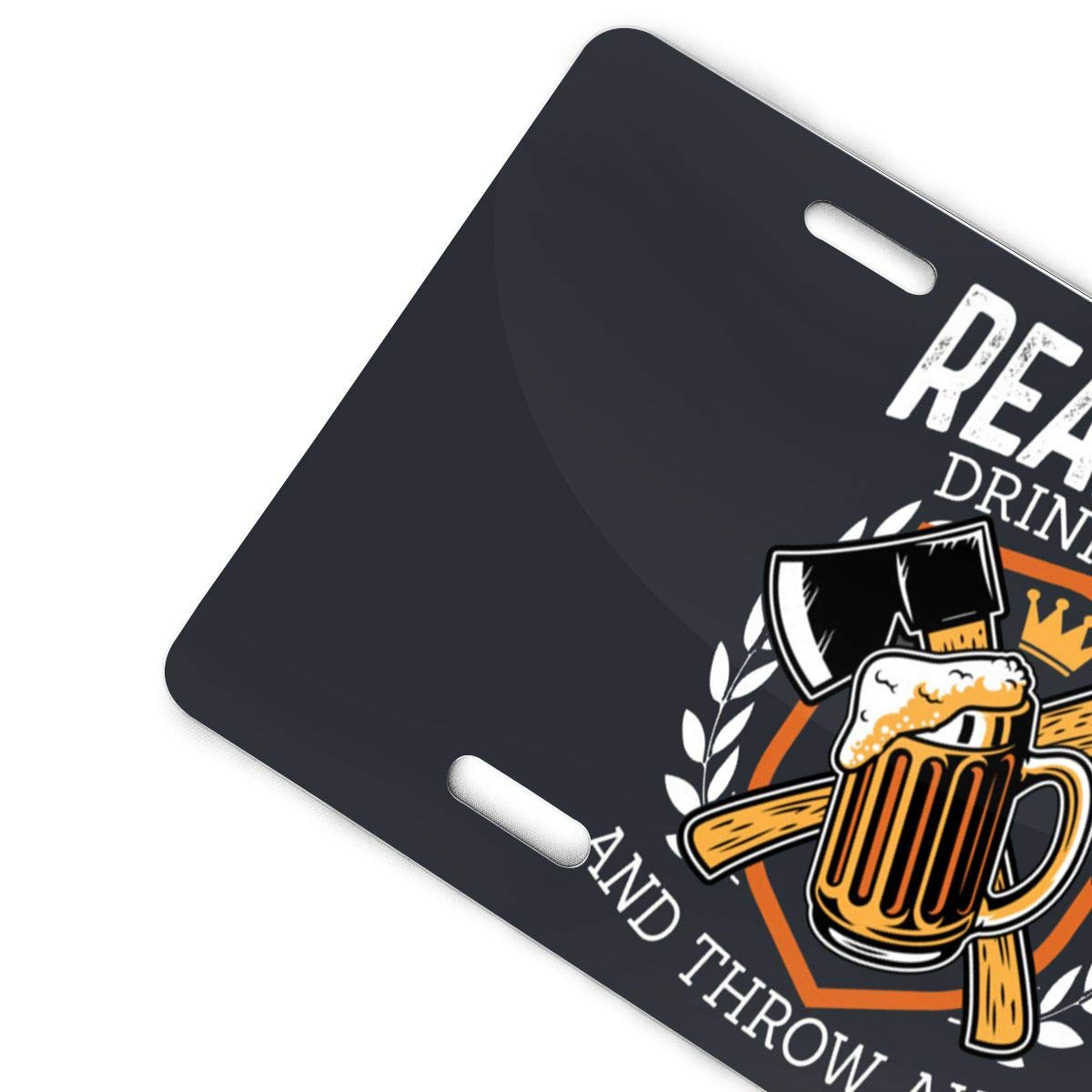Oppo-ww Funny Real Men Drink Beer and Throw Axes Hatchet Throwing Retro License Plates for Car Decoration 6 Inch X 12 Inch