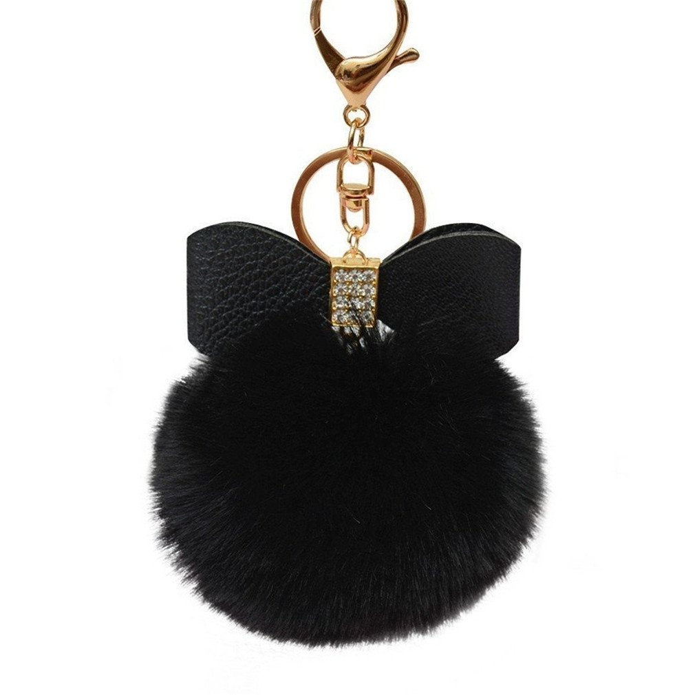 Lalang Keychain Keyring Pendant Bowknot Fluffy Plush Pom Pom Keychain Pendant Keyring for Car Handbag Accessories (black) 88_Store