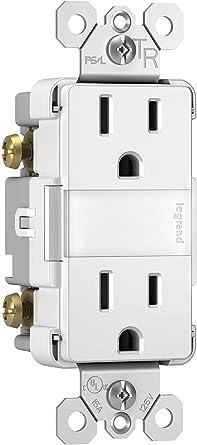 Legrand radiant Adjustable LED Night Light Outlet, Nightlight Electrical Outlets, Tamper Resistant, Safe for Kids, White, NTL885TRWCC6