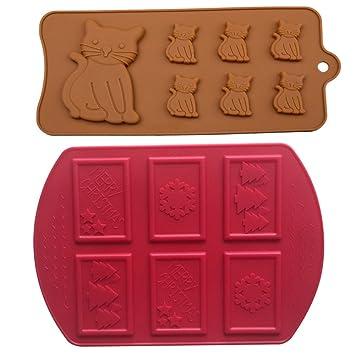 ZWANDP Animales Gatito del Molde del Hielo del Molde del Chocolate de Dulces de Navidad de Galletas Decoradas Fuente de Horno Utensilios 2 Juegos: ...
