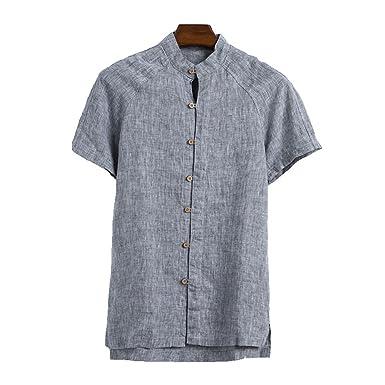 ff9486a4 ZOOB MILEY Casual Shirts Men 100% Pure Linen Mandarin Collar Short Sleeve  Tops Grey Tag