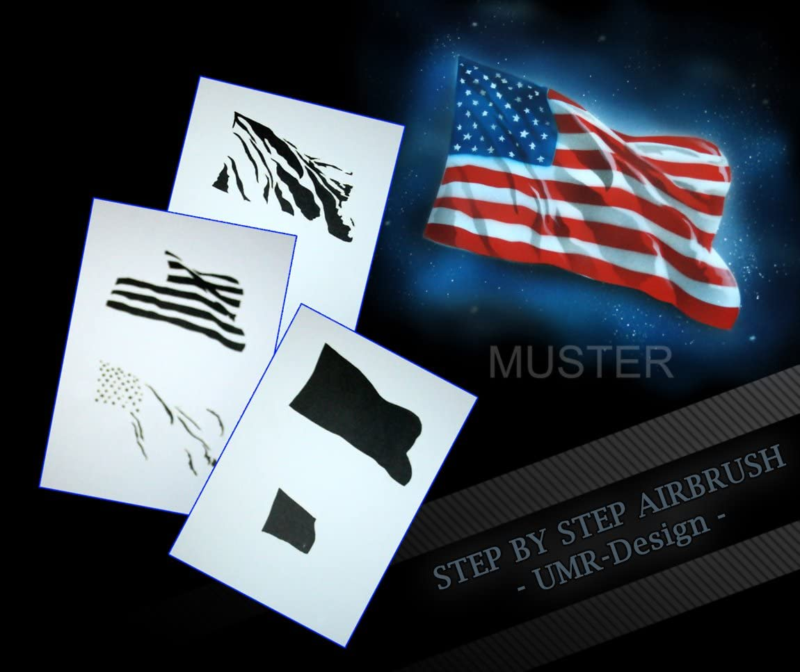 Pochoir da/érographie step by step motif drapeau am/éricain aS 077
