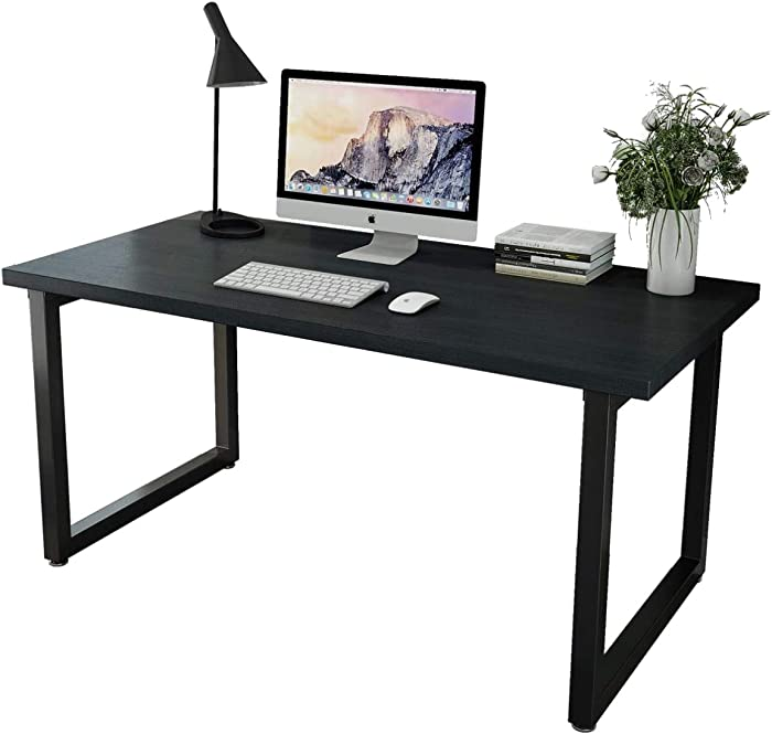 Patavinity Real Wood Computer Desk, 47in Rustic Wood and Metal Writing Desk, Sturdy PC Study Table for Home Office (47'' W x 23'' D x 29'' H, Pine Wood Desktop with Water-Proof PVC Cover, Black)