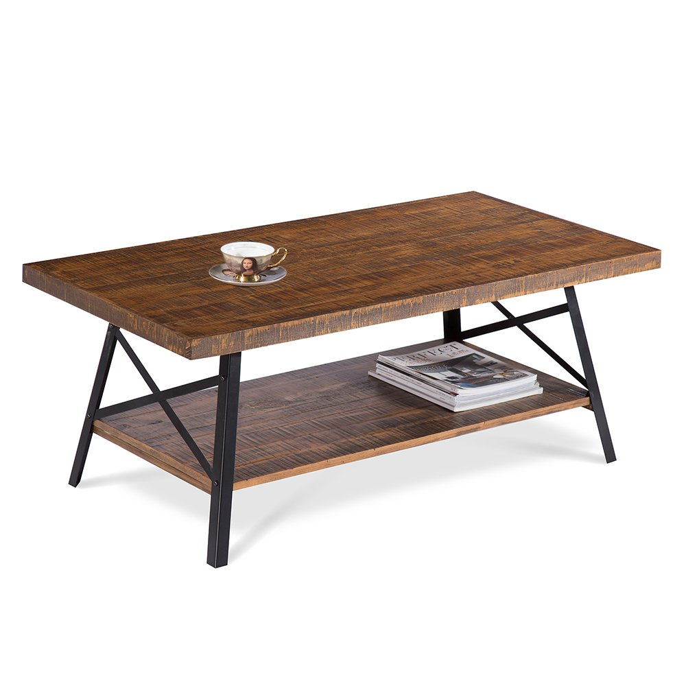 PrimaSleep Famille 46''W Solid Wood Top & Steel Legs Cocktail Table/Coffee Table/Side Table/End Table/Sofa Table/Dining Table/Vanity Table/Computer Table/Garden Table, (Rustic Brown)