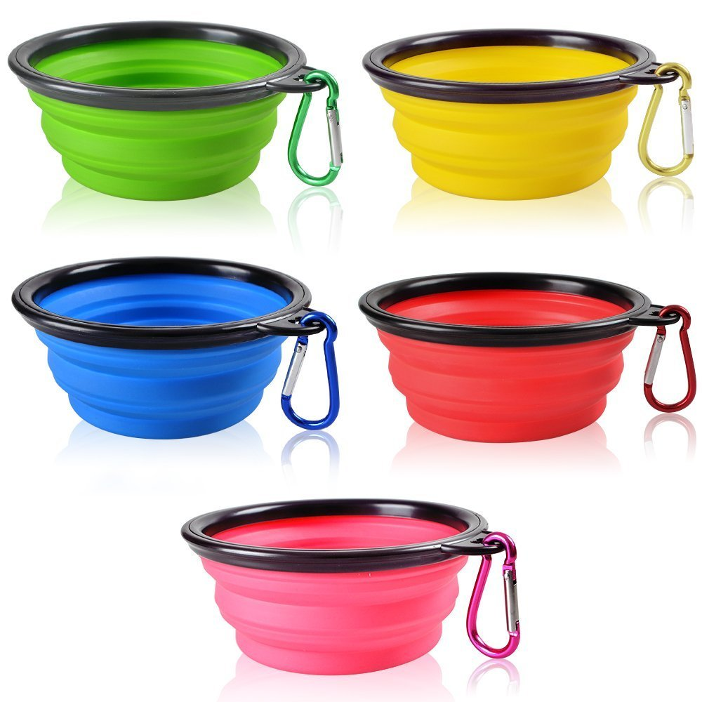 COJOY Collapsible Dog Bowl Extra Large Cat Water Food Feeder Food Grade Silicone BPA Free FDA Approved Adjustable Double Feeding Portable Outdoor Travel Dog Bowls for Journeys Travel Hiking Camping
