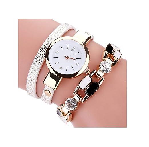 b4ff36419f47 Moda Casual Reloj para Mujer Pulsera de Cristal Bohemio Sexy Serpiente  Patrón PU Cuero Hoverxe Cuarzo