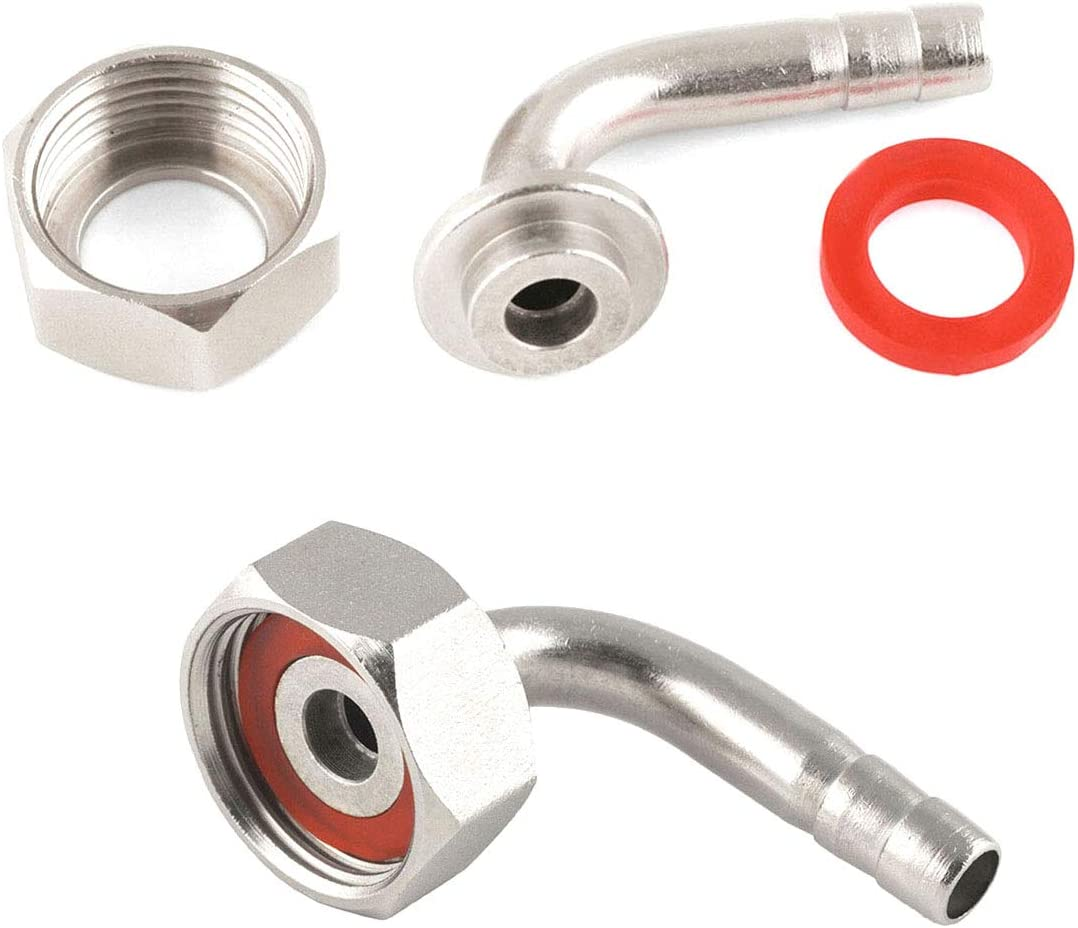 "Iceyon Draft Beer Faucet Connectors- 90° Tail Piece Elbow + Hex Nut + Washer Inner Dia. 6mm for 3/16"" inside diameter beer hose Pack of 2"
