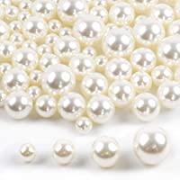 DICOBD Pearls for Vase Filler 100pcs 4 Sizes(12mm, 16mm, 20mm, 25mm) Pearl Beads Ivory No Holes Beads, Table Scatter, Wedding, Birthday Party, Home Decoration, Handmade