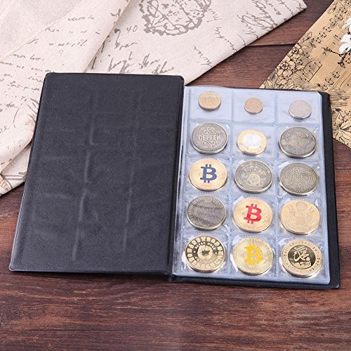 Whitelotous 10 Pages 150 Pockets Coin Storage Collecting Holders Penny Pockets Money Album Book(Black) ()