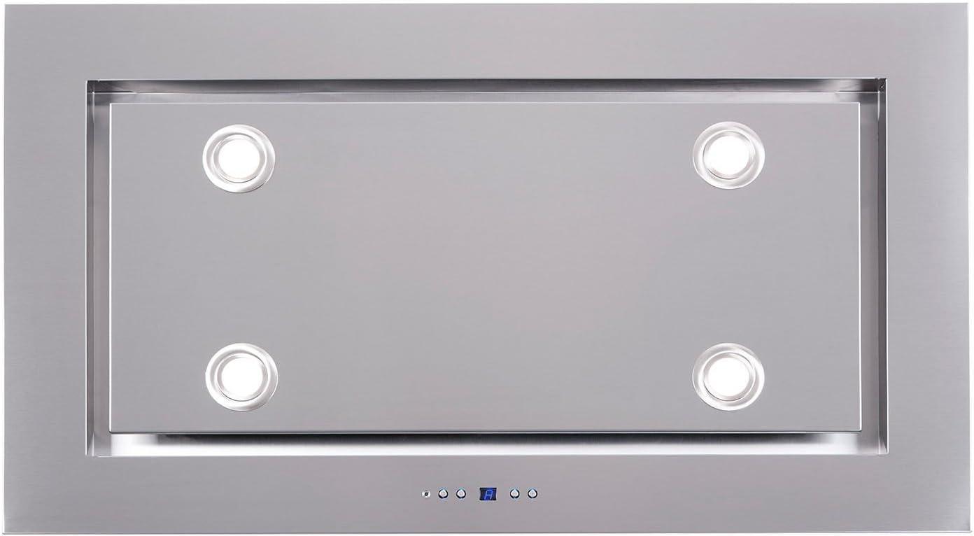 Luxus Deckenhaube 120cm//Aus Edelstahl//Inklusive Saugstarken Motor 925m/³//h//Dunstabzugshaube 4x2 W Power LED Beleuchtung //4 Stufen mit 1 Turbostufe//Nachlaufautomatik//Deckenl/üfter Made in EU