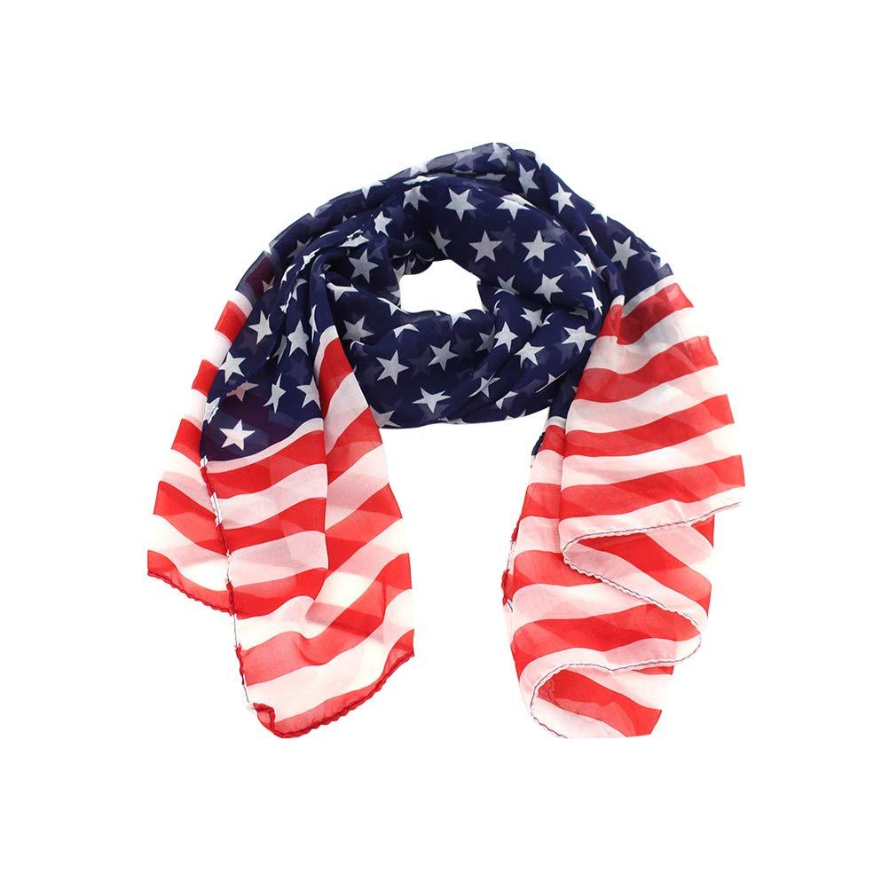 Fenical Schal-weicher Schal-amerikanische Flagge Stars and Stripes langer Chiffon- Schal-Schal-Tuch Z97IXP0AZ16SIJ628YQ04XD1