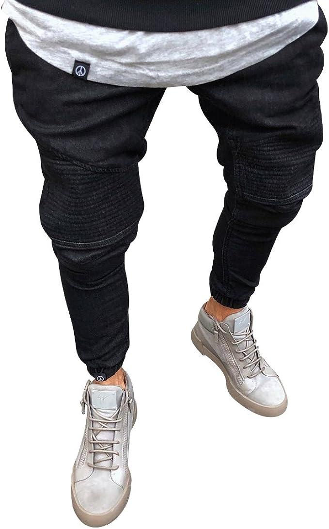 Pantalones Al Tobillo Hombre Slim Fit Stretch Vaqueros Rotos Con Cremallera Negro 4xl Amazon Es Ropa Y Accesorios