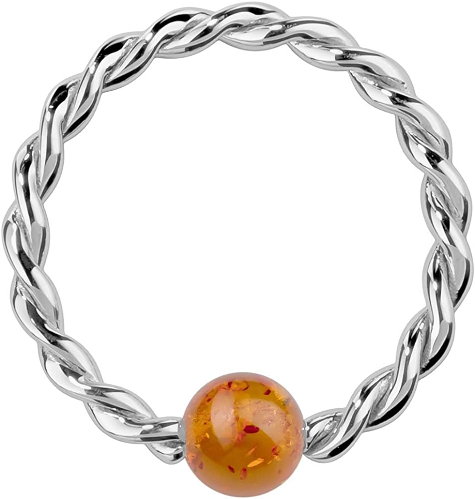 FreshTrends 18G Baltic Amber 14K White Gold Twisted Captive Bead Ring