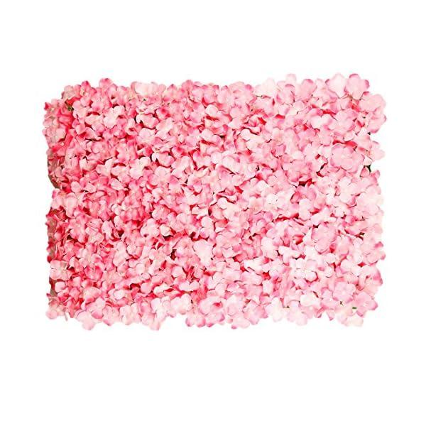 Calcifer 1 Pcs 40 cm X 60 cm Artificial Hydrangea Carpet Mat Flower Wall Hanging Backdrop for Home Office Shop Garden Wedding Party Decoration (Pink)