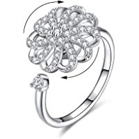 AoedeJ Fashion Women Anti-Anxiety Spinning Rings Open Adjustable Rotating Cubic Zirconia Wedding Rings