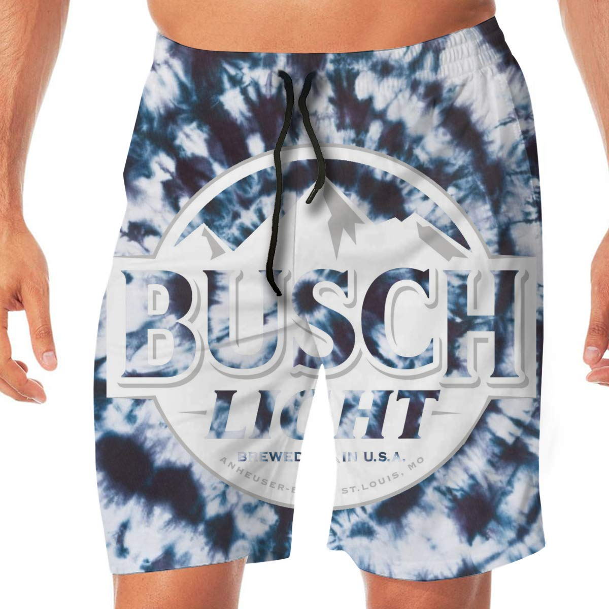 Tonhhuids Mens Beer Theme Tie-Dye Summer Holiday Quick-Drying Swim Trunks Beach Shorts Board Shorts