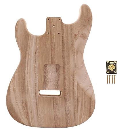 Cuerpo de guitarra eléctrica de madera sin acabado con placa de ...