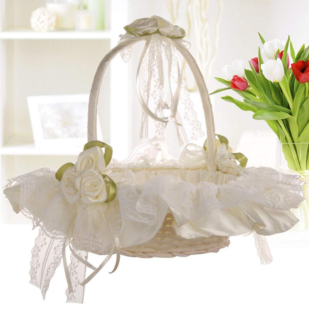 Agordo Wedding Flower Girl Basket Lace Bowknot Bride Party Basket Birthday Decoration