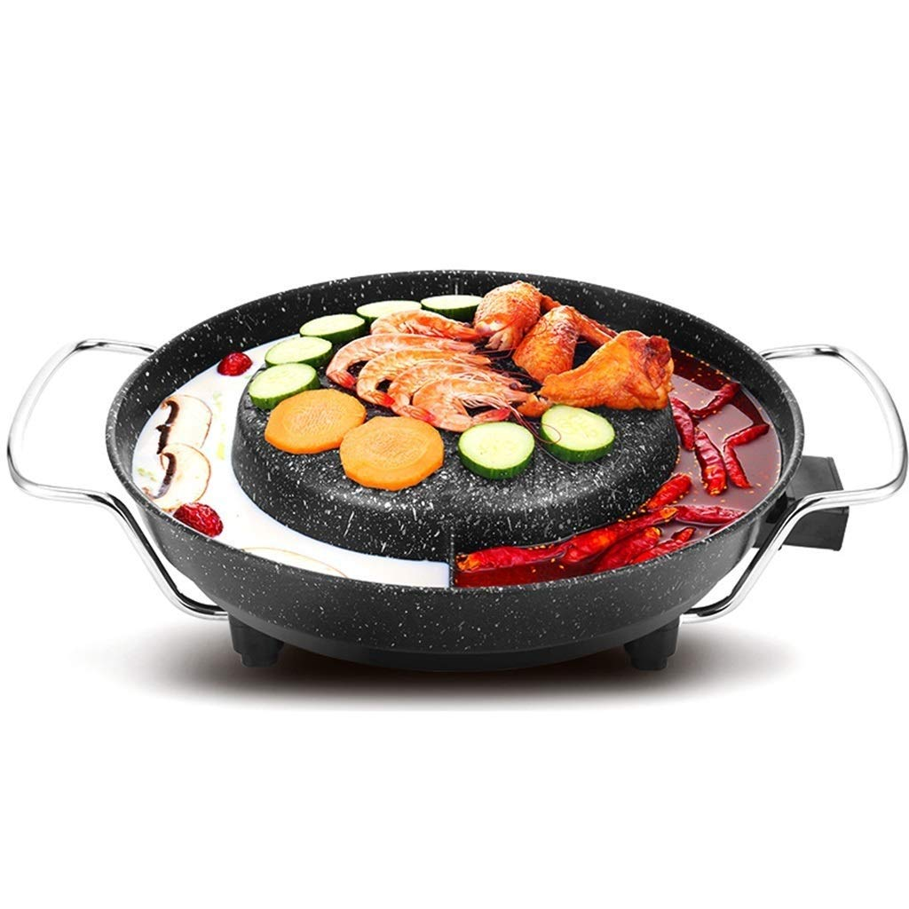 Yyqthg Multifunctional hot Pot, Maifanshi Electric Grill Home Smokeless Electric Baking Pan Non-Stick Barbecue Machine Roast Hot Pot One-Piece Round Pot by Yyqthg