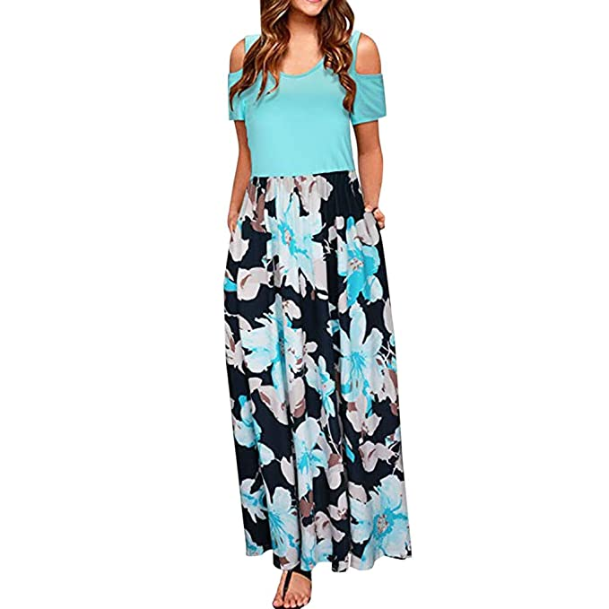 13271e6f36 ... Off Shoulder Print Beach Dress Female Casual Pocket Maxi Dress Women'  Cold Shoulder Floral Print Elegant Short Sleeve Dress: Amazon.co.uk:  Clothing
