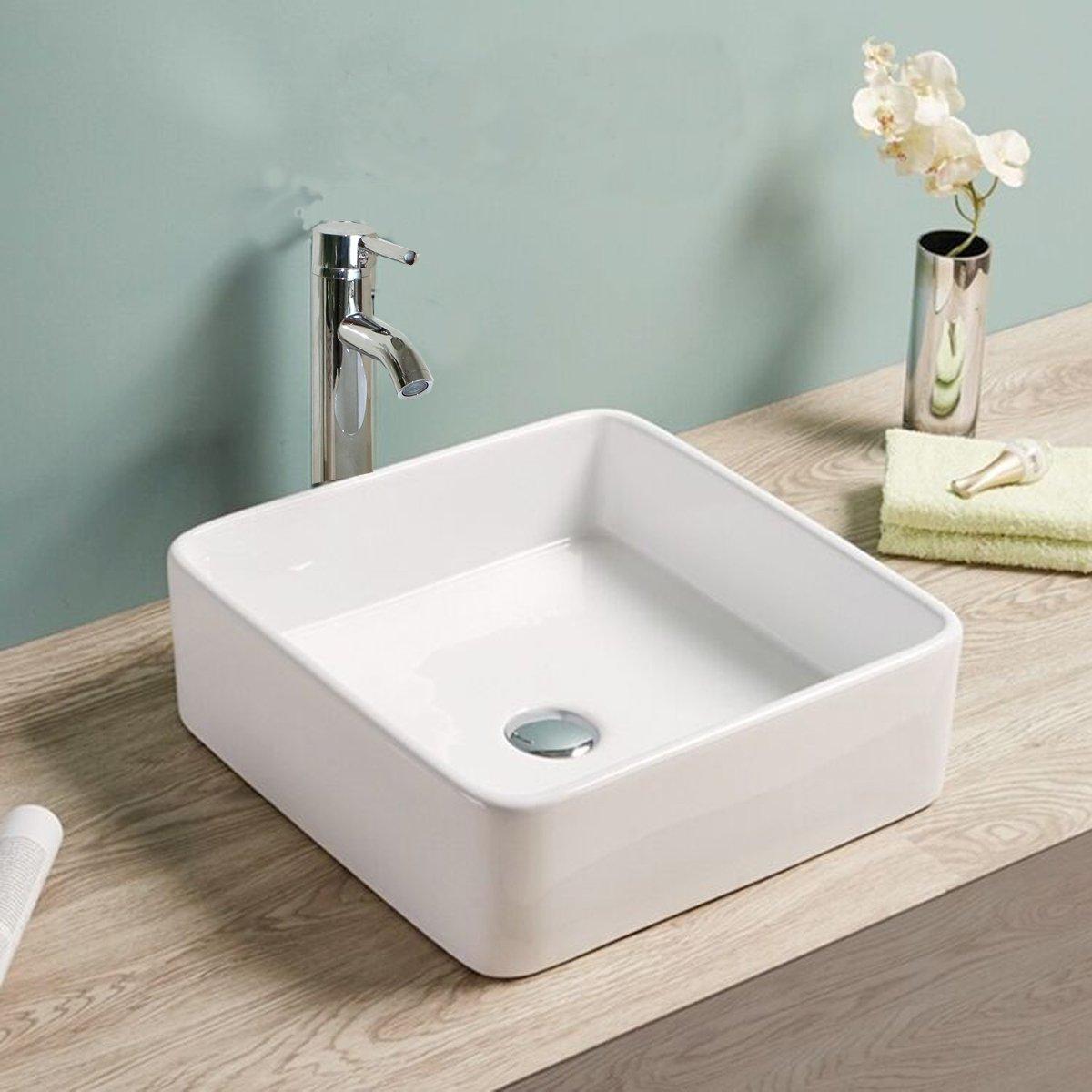 Walcut Bathroom 15.2''L x 15.2''W x 5.5''H White Square Lavatory Porcelain Ceramic Vessel Vanity Sink Art Basin & 12'' Chrome Faucet by WALCUT
