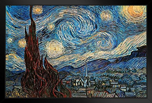 The Starry Night 1889 by Vincent Van Gogh Art Print Framed Poster 14x20 inch