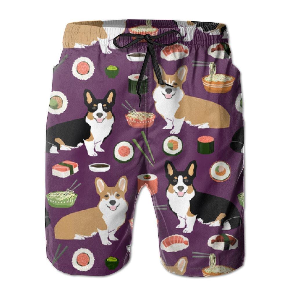 HYEECR Corgi Love Noodles and Sushi Customized Summer Casual Beach Board Shorts Pants for Men Boys