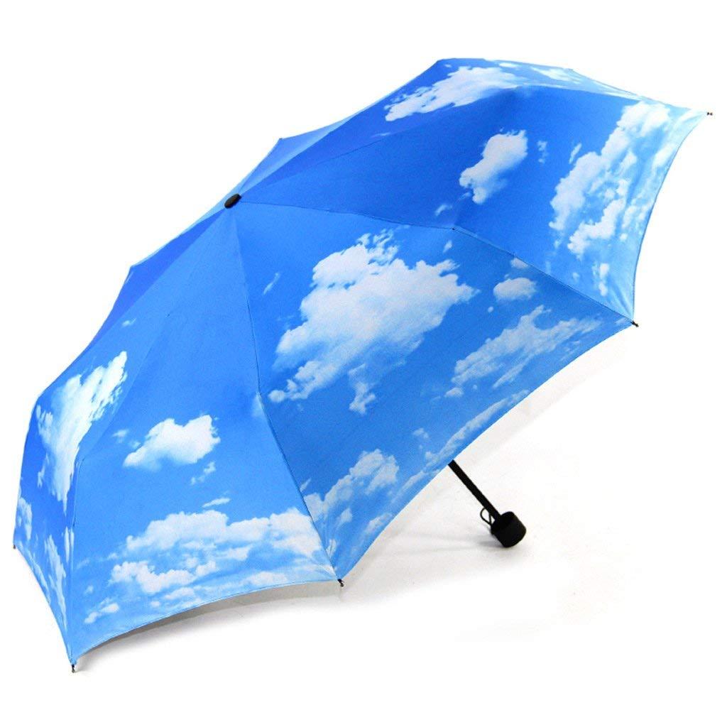 YAN Sombrilla Azul Sombrilla Protector Solar Vinilo Negro Creativo Plegable Pareja Hombre y Mujer Paraguas Soleado,El patrón Externo El patrón Externo