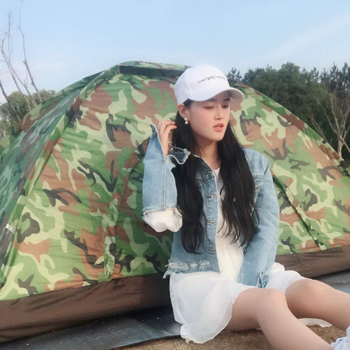 FancyswES8eety Carpa de Camuflaje Impermeable Ultra Liviana para Dos Personas de una Sola Capa con Puerta Redonda para Carpa de Turismo de Camping al Aire Libre