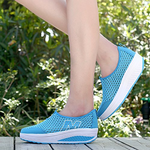 Shoe Toning Zicoope Sneaker Athletic Walking Slip Blue Casual m On Women's C8wUq1