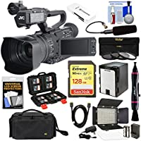 JVC GY-HM200SP Ultra 4K HD 4KCAM Professional Sports Production Camcorder & Top Handle Audio Unit + XLR Microphone + 128GB Card + Battery + Case + LED Video Light Kit