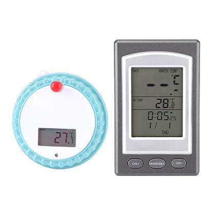 Termómetro Digital para Piscina Termómetro Inalánbrico Flotante de Piscina Termómetro con Reloj para Baño Piscina SPA