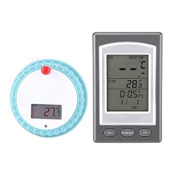 Termómetro Digital para Piscina Termómetro Inalánbrico Flotante de Piscina Termómetro con Reloj para Baño Piscina SPA: Amazon.es: Hogar