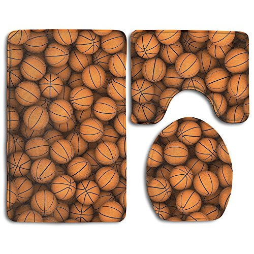Basket Balls Bath Mat Bathroom Carpet Rug Washable Non-Slip 3 Piece Bathroom Mat Set