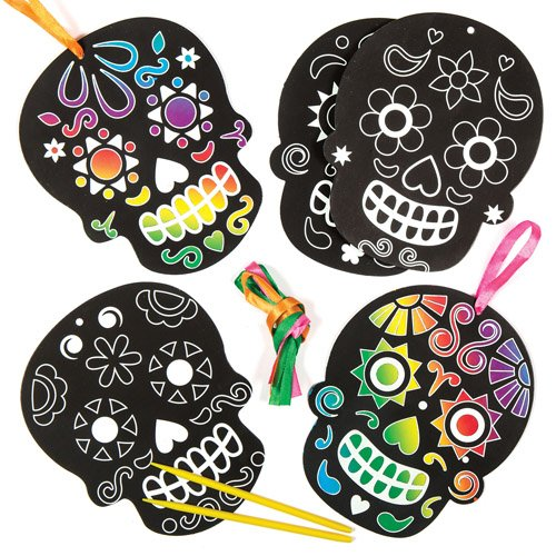 Baker Ross Day of The Dead Scratch Art Hanging Decorations for Children. Make Your Own Halloween Ornament with This Creative Craft Set (Pack of 6)