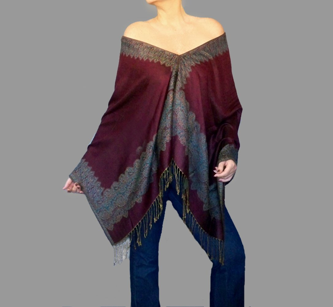 Burgundy Pashmina Shawl Long Wine Scarf Poncho Wrap Top By ZiiCi
