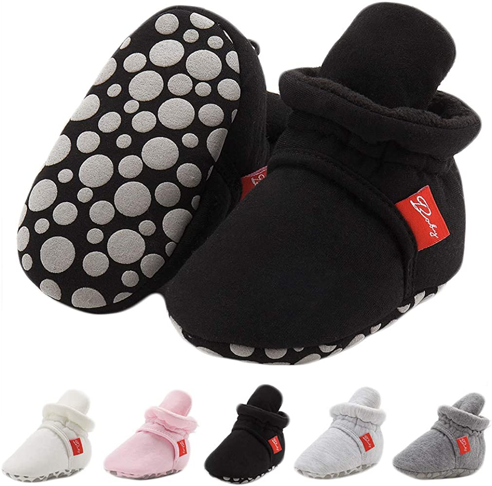 CARREAN Baby Boys Girls Booties Non Skid Soft Sock Cotton Boots Infant Slippers Newborn First Walker Crib Shoes