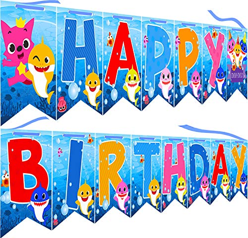 Baby Shark Cute Happy Birthday Banner Shark Theme Party Supplies For Kids Baby Shower Partyand Adults Birthdays Party Decorations Set of 15 flags