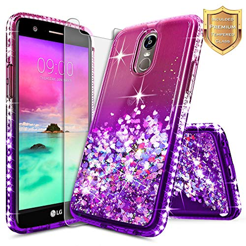 LG Stylo 3 Case, LG Stylo 3 Plus Case w/[Tempered Glass Screen Protector], NageBee Glitter Liquid Quicksand Waterfall Floating Flowing Sparkle Shiny Bling Diamond Clear Girls Cute Case -Pink/Purple