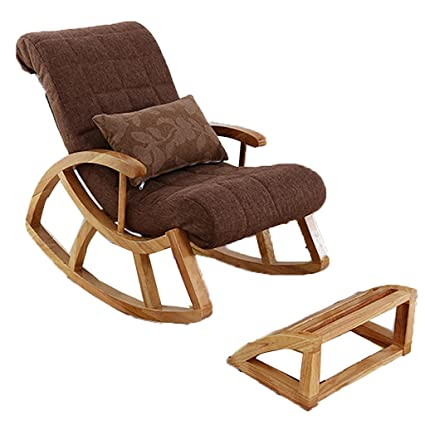 Solid Wood Rocking Chair Lazy Sofa Removable And Washable Bedroom Deck Chair  Happy Stool Balcony Siesta