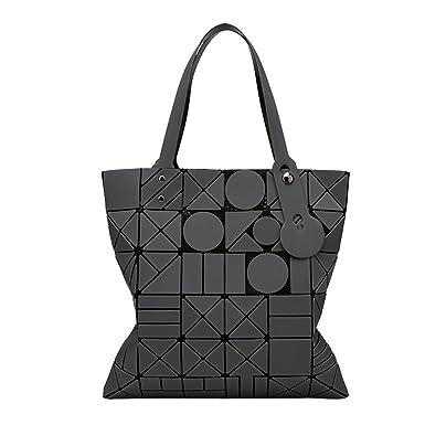 Damenmode Geometrische Tasche Gefaltet Umhängetasche,Black-OneSize ADEFG