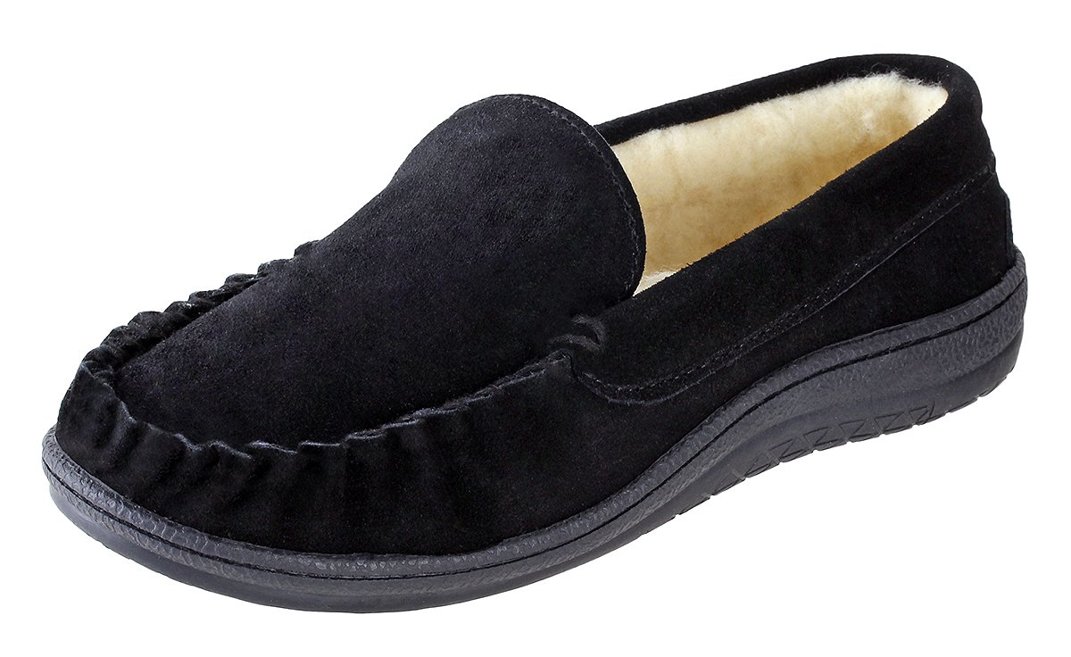 Urban Fox - Royce Moccasin Slippers Men I Rubber-Sole I Cow-Suede I 100% Coral Fleece Lining I Comfortable House Slippers I Slippers for Men I Closed Toe & Heel Slippers for Men I Black - US 11