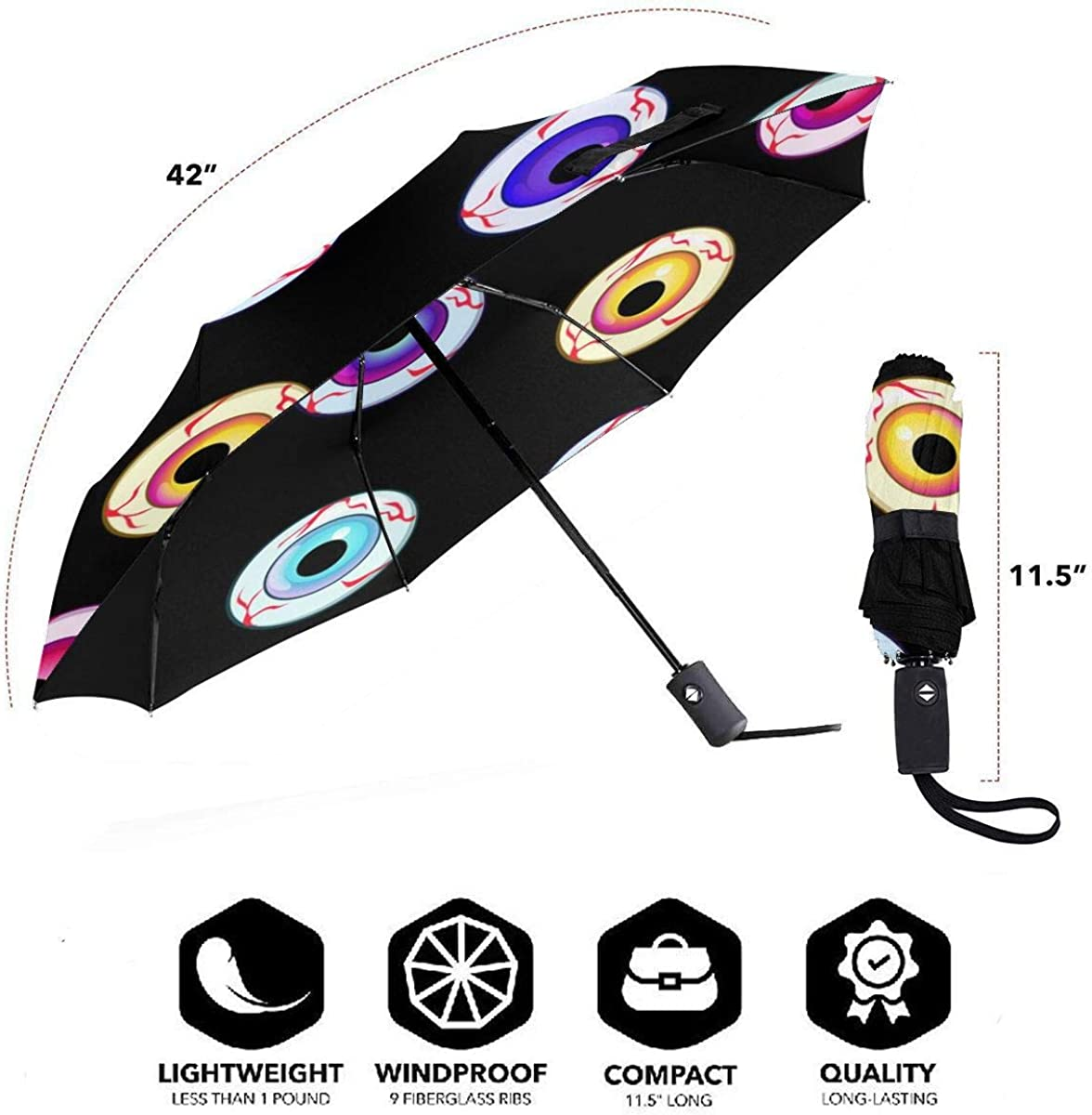 Halloween Eyes Icons Art Seamless Pattern Compact Travel Umbrella Windproof Reinforced Canopy 8 Ribs Umbrella Auto Open And Close Button Customized