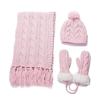 Bufanda ZZHF Sombrero de Mujer Guantes Tejido Engrosamiento de Invierno Cómodo Suave Color Puro Dulce y