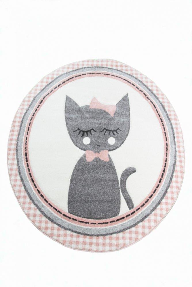 Kinderteppich Kinderzimmerteppich Babyteppich rund Katze in Rosa Grau Creme Größe 160 cm Rund